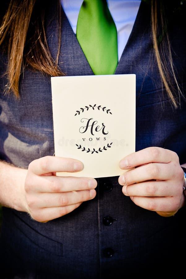 Fornala mienia panny młodej ślubowania w karcie zdjęcie stock