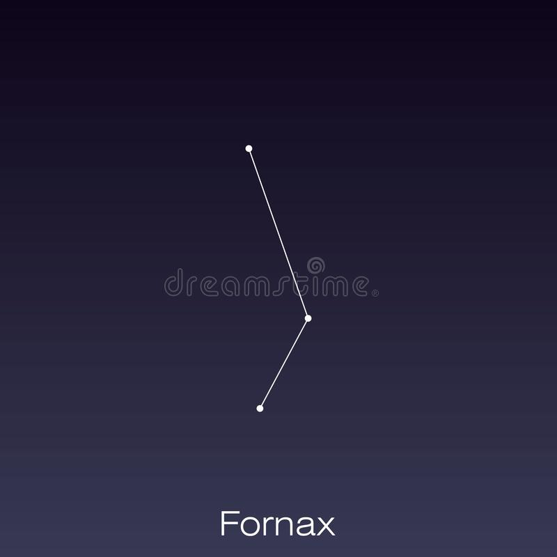 Constellation as it can be seen by the naked eye. Fornax constellation as it can be seen by the naked eye stock illustration