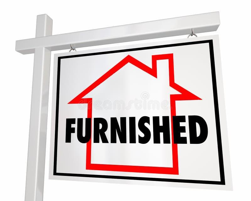 Fornecido em casa para o sinal de Real Estate da casa da venda ilustração stock