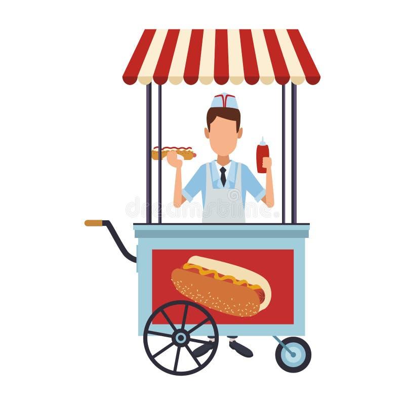 Fornello con la bancarella di hot-dog royalty illustrazione gratis