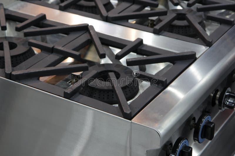 Fornello di gas bruciante della cucina fotografia stock libera da diritti