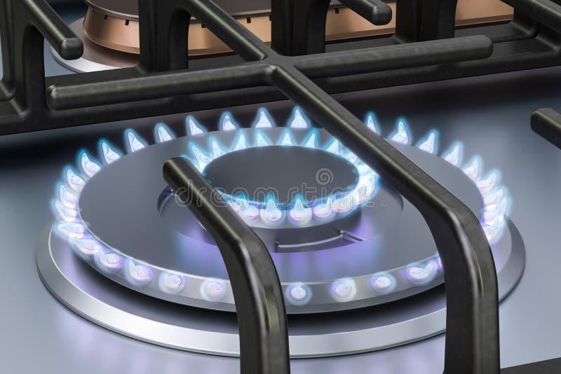 Fornello di gas con i doppi bruciatori a gas rappresentazione 3d illustrazione di stock