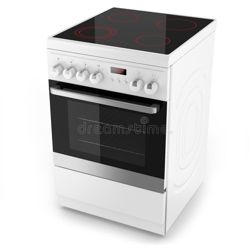 Fornello elettrico bianco moderno illustrazione di stock