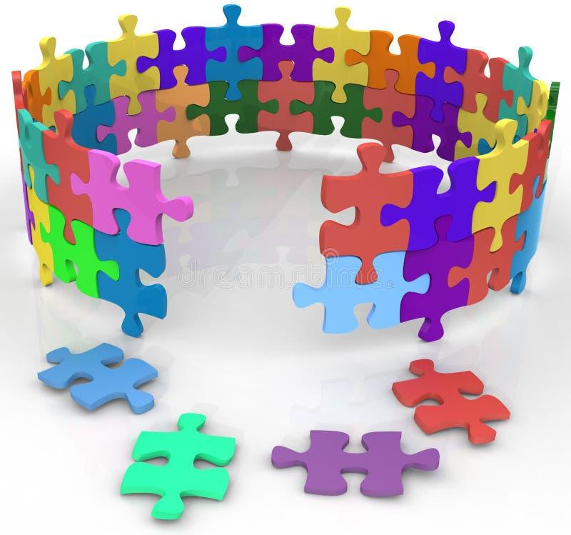 Fornisca il cerchio dentro la soluzione di puzzle di mistero illustrazione di stock
