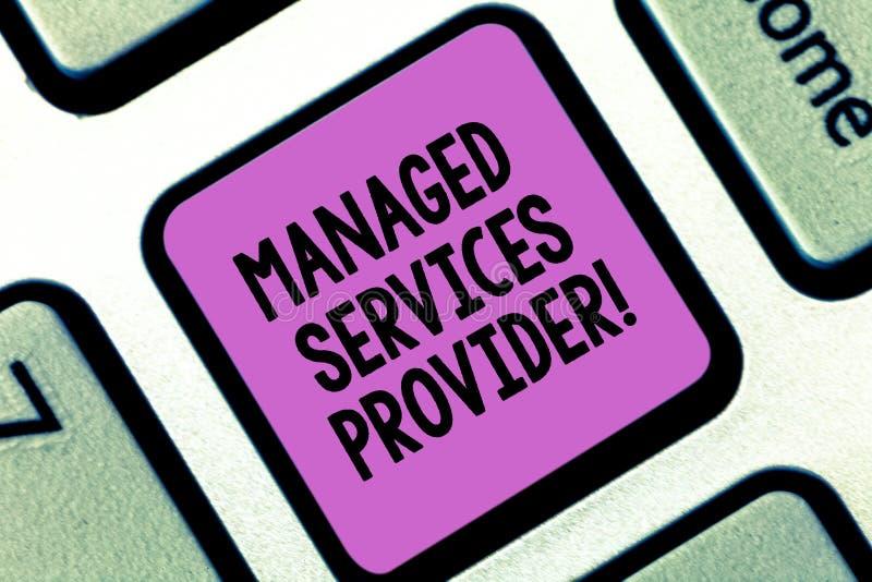 Fornitore di servizi diretto testo di scrittura di parola Concetto di affari per la compagnia di servizi dell'IT che offre il ser fotografia stock libera da diritti