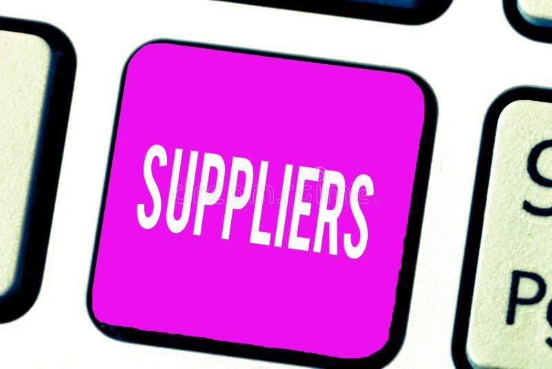 Fornitori del testo della scrittura Concetto che significa i fornitori di qualcosa stato necessario come i prodotti dell'attrezza fotografie stock libere da diritti