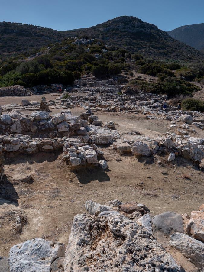 Fornlämning av den Dorian stadsstaten på Lato, NE-Kreta royaltyfri fotografi
