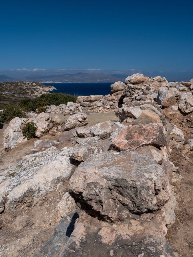 Fornlämning av den Dorian stadsstaten på Lato, NE-Kreta royaltyfria bilder