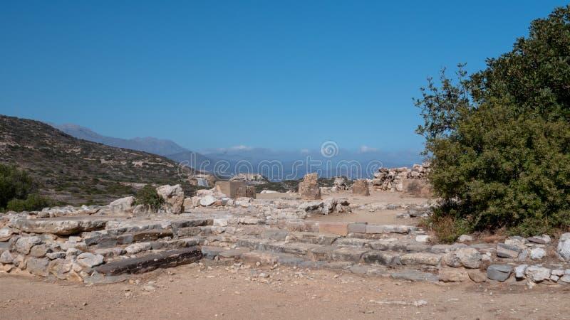 Fornlämning av den Dorian stadsstaten på Lato, NE-Kreta arkivbild