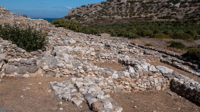 Fornlämning av den Dorian stadsstaten på Lato, NE-Kreta arkivfoton