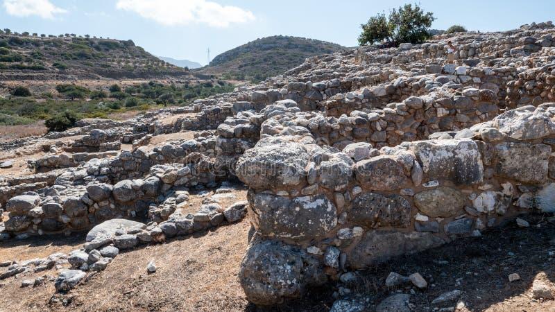 Fornlämning av den Dorian stadsstaten på Lato, NE-Kreta royaltyfria foton