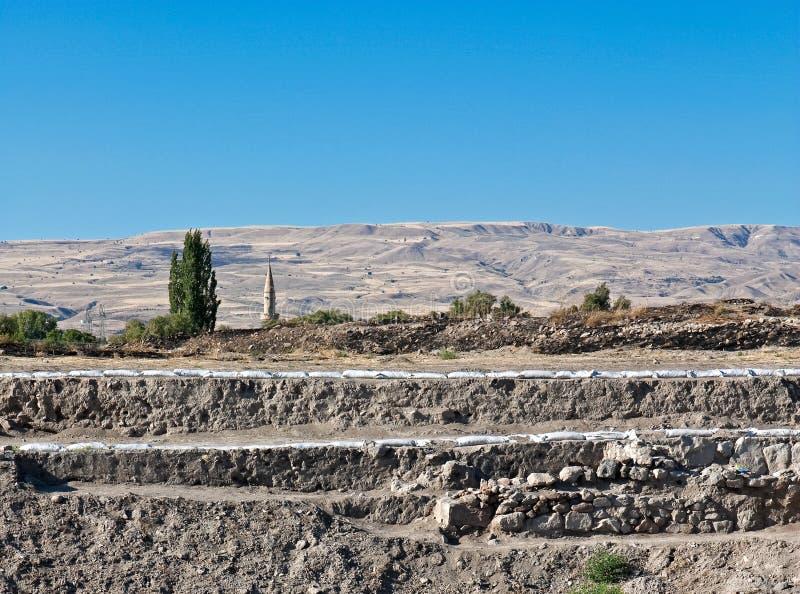 Fornlämning och arkeologisk utgrävning, Kueltepe, Kanish, royaltyfria bilder
