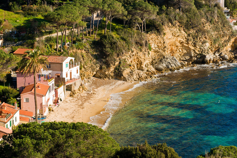 Forno Beach before sunset, Italy. stock image