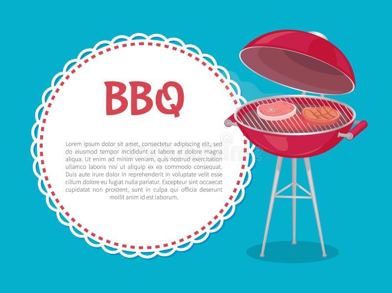 Forno del modello del partito del BBQ con le bistecche ed il campione del testo royalty illustrazione gratis