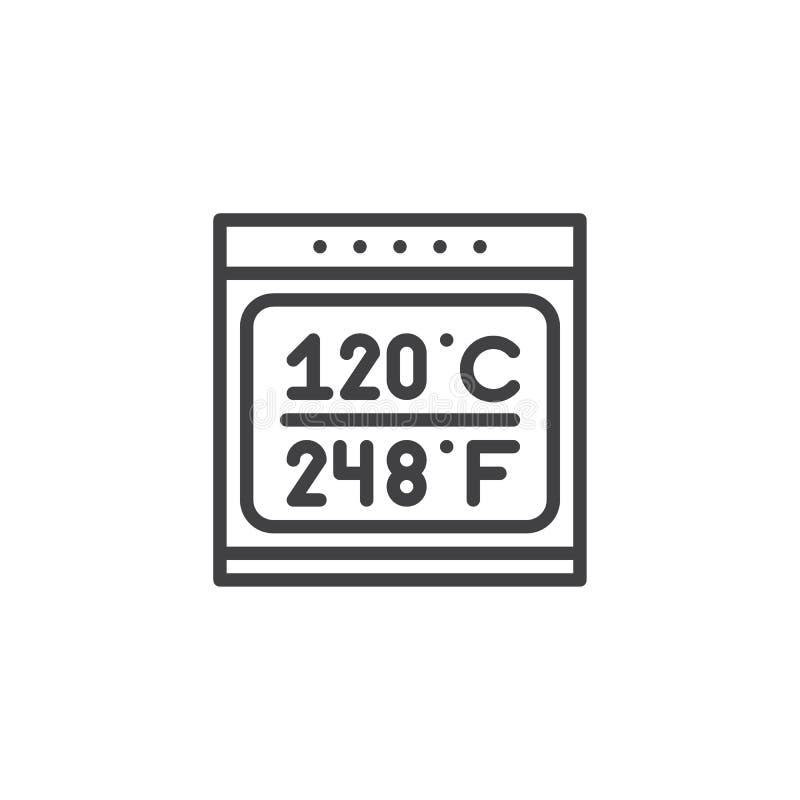 Forno elettrico con la linea di controllo elettronico icona illustrazione di stock