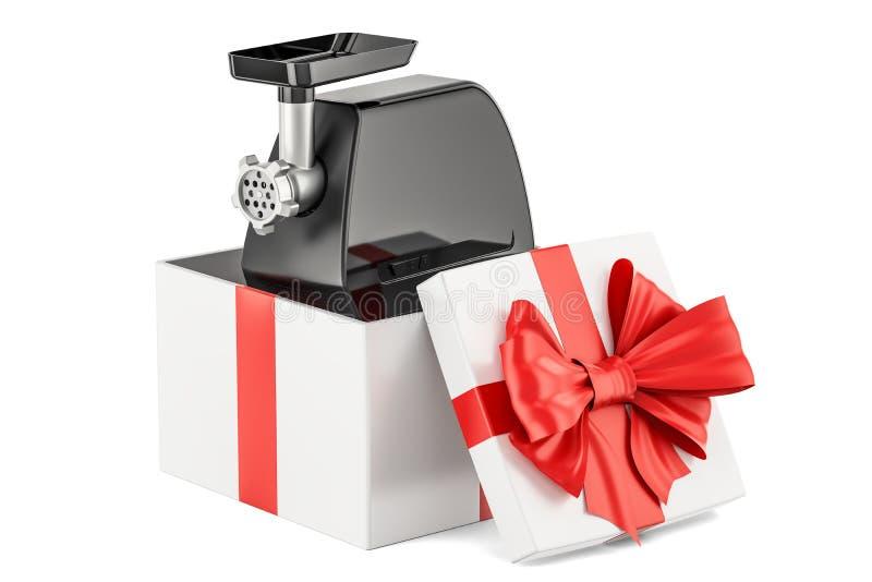 Forno elettrico della tritacarne dentro il contenitore di regalo, concetto del regalo 3d ren illustrazione di stock