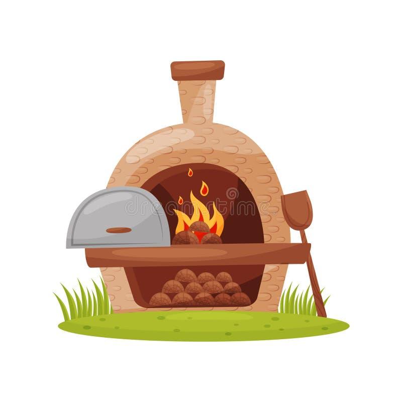 forno exterior Madeira-ateado fogo no gramado verde Fornalha da pedra da exploração agrícola com lenha ardente, pá de madeira Pro ilustração stock