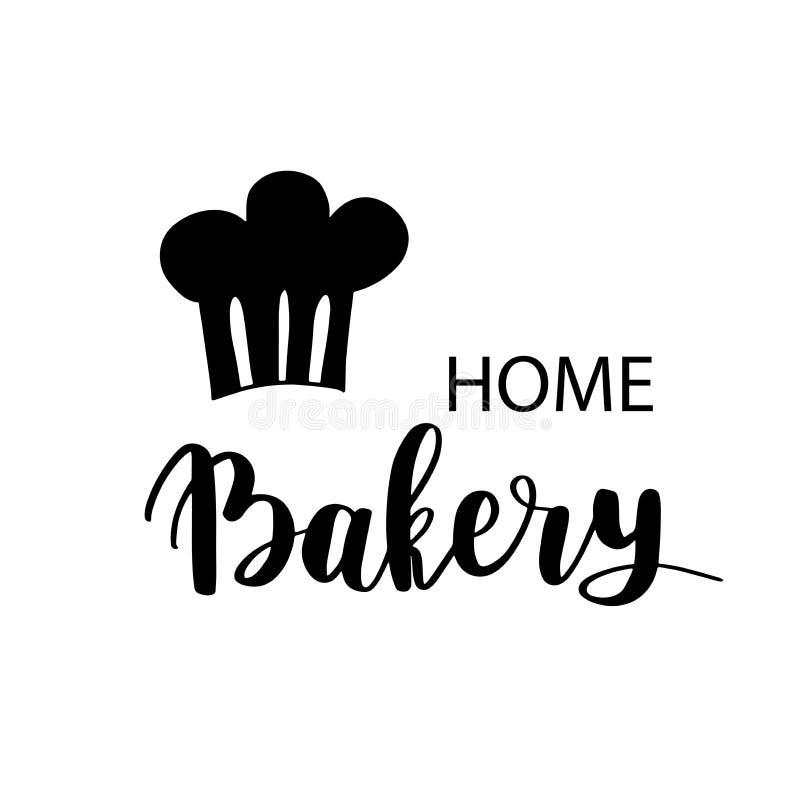 Forno, logo del negozio del dessert o della panetteria, etichetta o progettazione dell'etichetta Logotype bollente domestico che  royalty illustrazione gratis