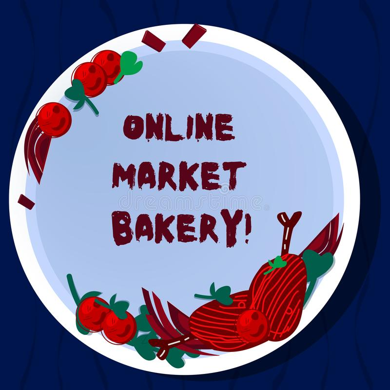 Forno online del mercato del testo della scrittura Il significato di concetto produce e vende l'alimento flourbased cotto in erba illustrazione vettoriale