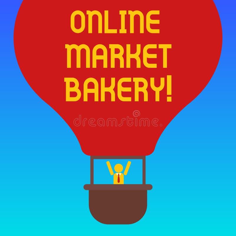 Forno online del mercato del testo della scrittura Il significato di concetto produce e vende l'alimento flourbased cotto nell'an illustrazione vettoriale