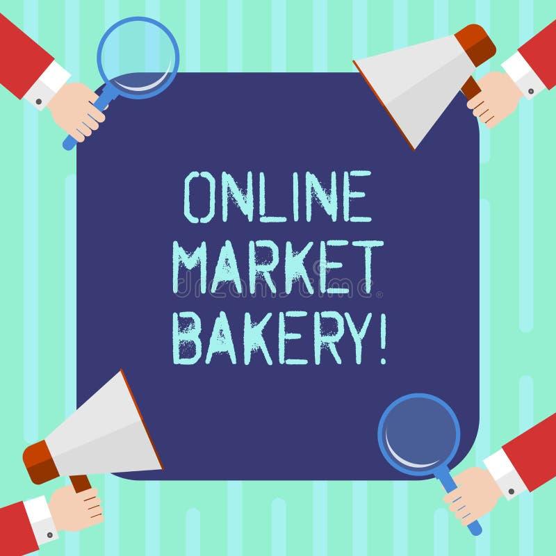 Forno online del mercato del testo di scrittura di parola Il concetto di affari per Produces e vende l'alimento flourbased cotto  illustrazione di stock
