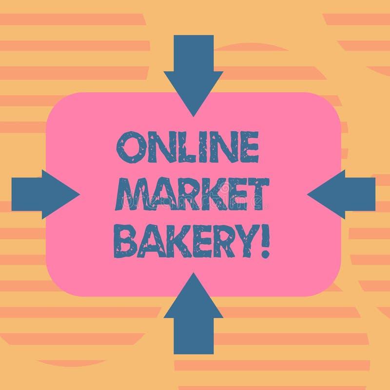 Forno online del mercato del testo di scrittura di parola Il concetto di affari per Produces e vende l'alimento flourbased cotto  royalty illustrazione gratis