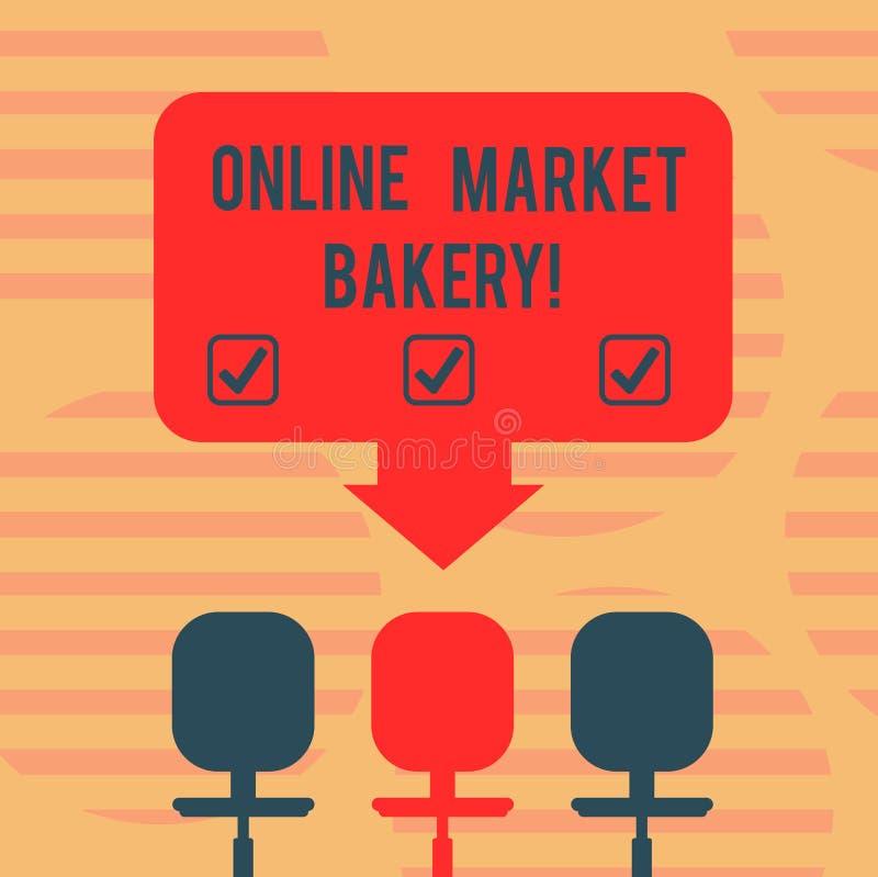 Forno online del mercato del testo di scrittura di parola Il concetto di affari per Produces e vende l'alimento flourbased cotto  illustrazione vettoriale