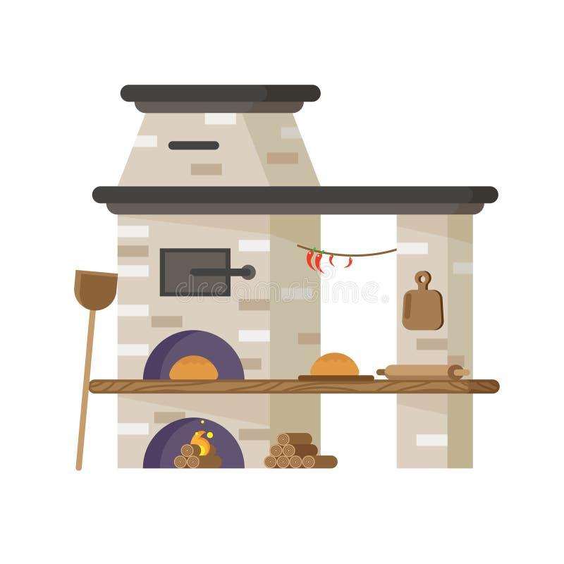Forno para o pão ou a pizza de cozimento Vetor no estilo liso ilustração royalty free