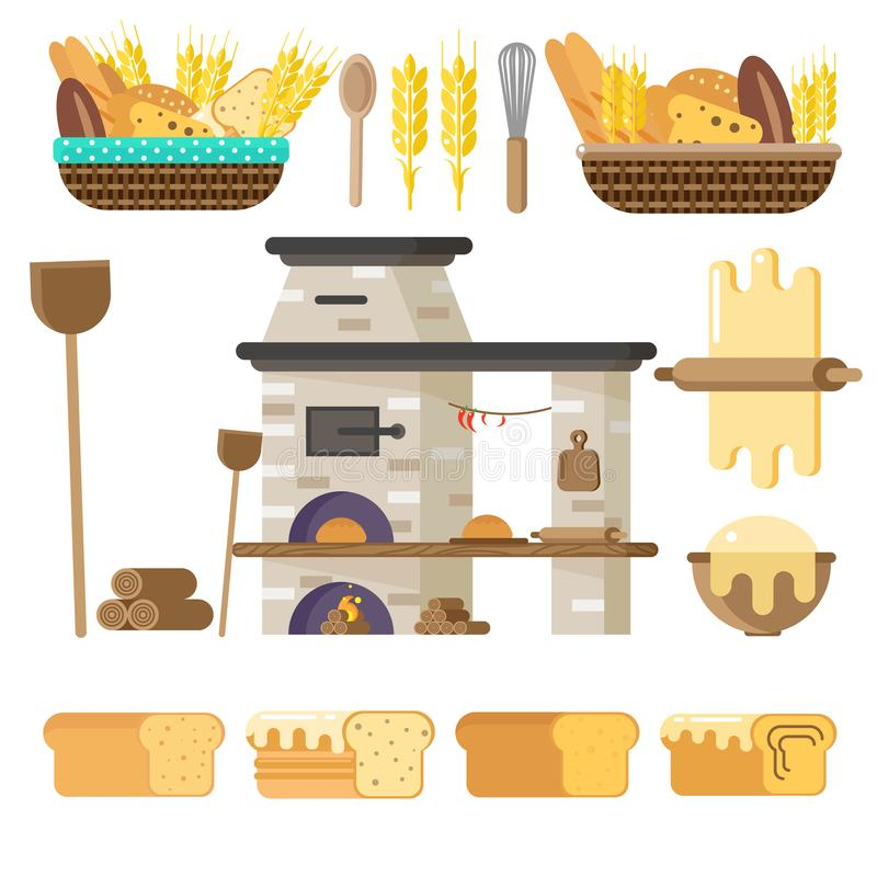 Forno para o pão ou a pizza de cozimento Vetor no estilo liso Tudo para cozer ilustração royalty free