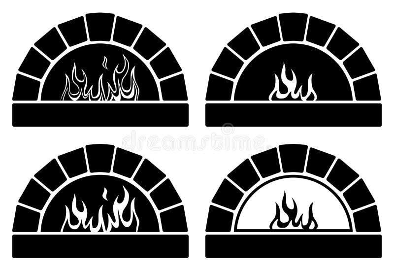 Fornos preto e branco com fogo ilustração stock