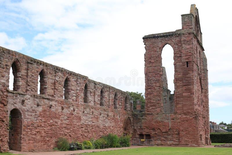 Forntida Abbey Arbroath i Skottland, Storbritannien royaltyfri fotografi