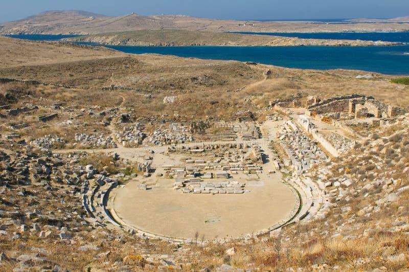 Forntida amfiteater, Delos ö, Grekland royaltyfri foto