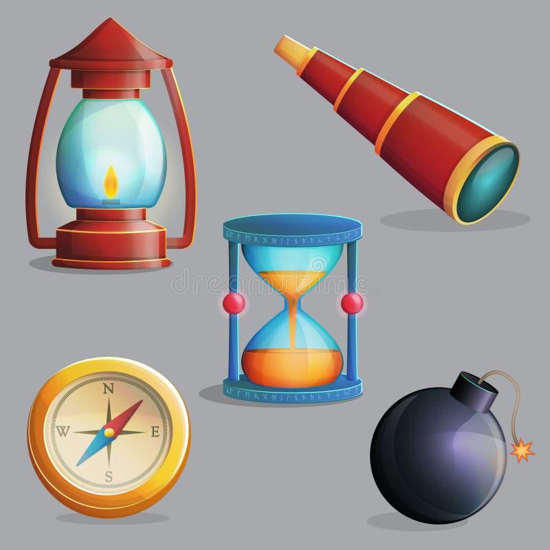 Forntida apparater och navigeringobjekt royaltyfri illustrationer