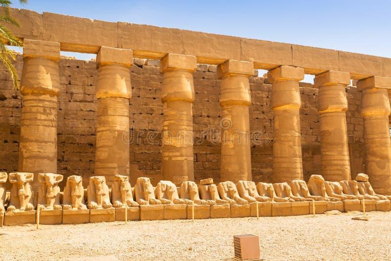 Forntida arkitektur av den Karnak templet i Egypten royaltyfri bild
