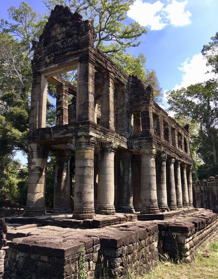 Forntida arkiv på Angkor Thom arkivfoton