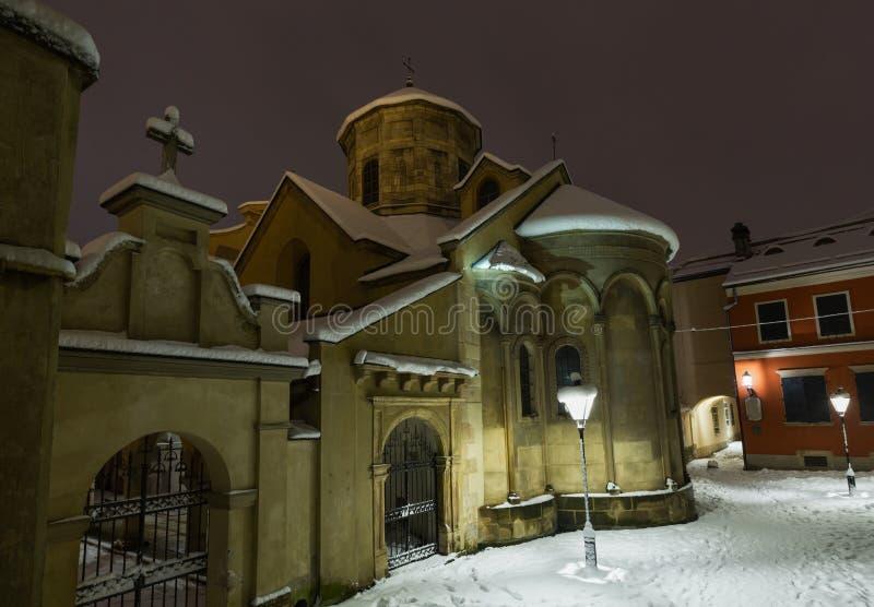 Forntida armenierkyrka i den Lviv staden, Ukraina arkivfoto