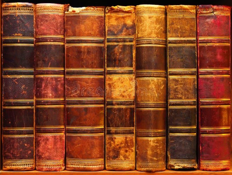 Forntida böcker på hylla i arkivet 1 royaltyfri bild