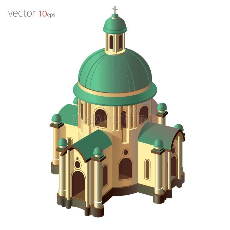 Forntida basilika (kyrkan) Isolerad vektorillustration med effekt 3d på vit bakgrund vektor illustrationer
