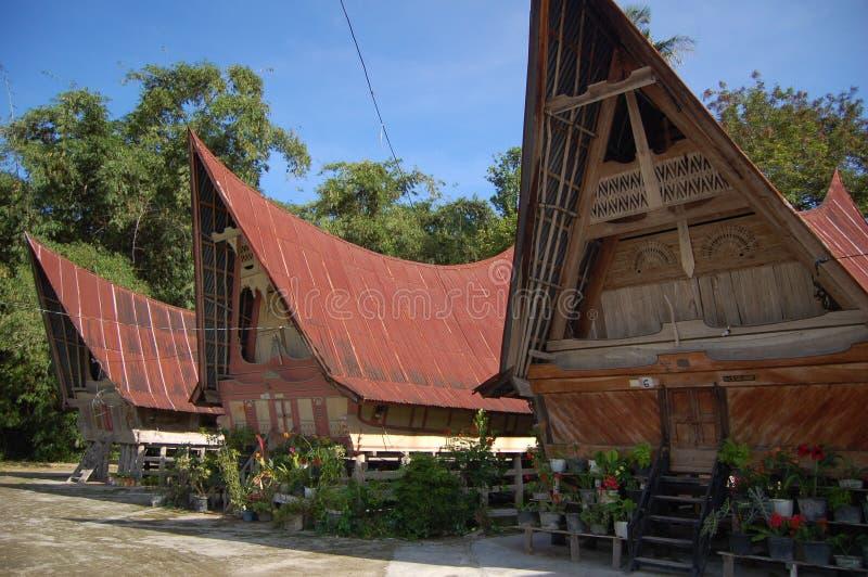 forntida batak houses stammen fotografering för bildbyråer