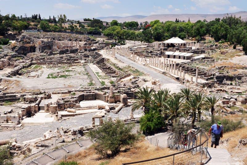 Forntida Beit Shean - Israel arkivbilder