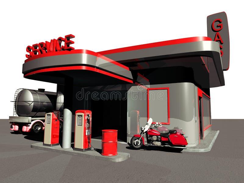 Forntida bensinstation stock illustrationer