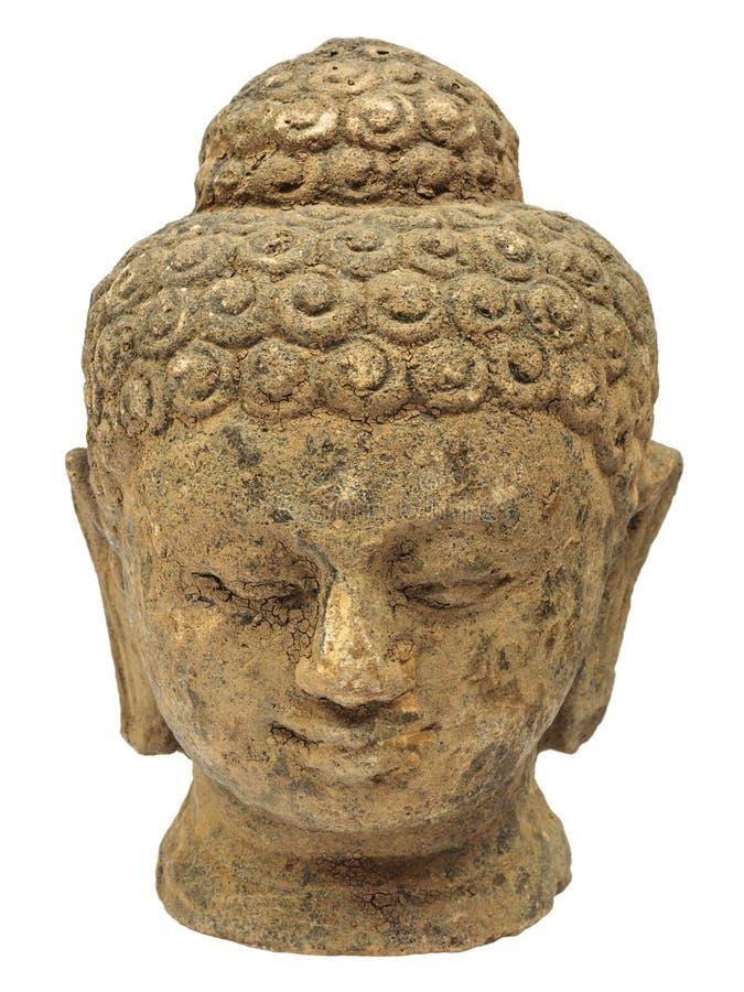 Forntida Buddha framsida som isoleras på white royaltyfri fotografi