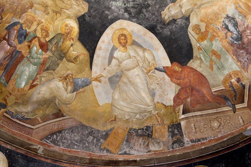 Forntida byzantinefreskomålning av Jesus, Adam och helgdagsaftonen i kyrka av helgonchoraen i constantinople, ISTANBUL, TURKIET arkivbilder