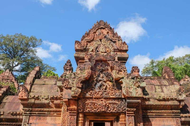 forntida cambodia tempel Banteay Srei tempelförbud Tai Srei Temple av det Angkor komplexet i Cambodja arkivbilder