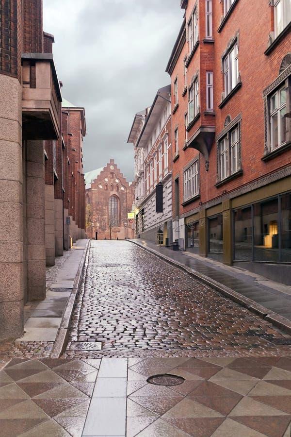 Forntida dansk gata i den Ã-… rhusen - Harald Skovbys Gade Stadslandskapdesign - garnering av den fot- delen arkivbild