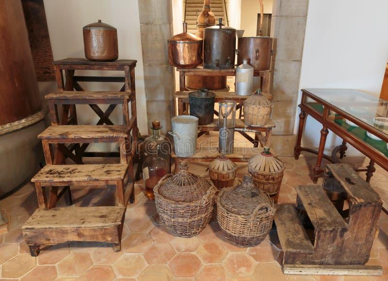 Forntida doft för utrustning för tillverkning av i Fragonard fac royaltyfri fotografi