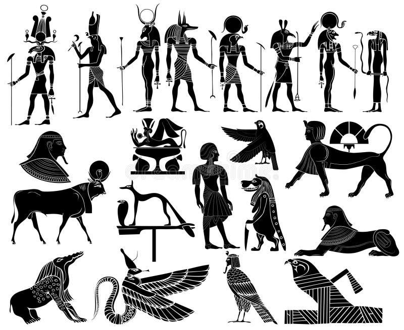 forntida egypt temavektor royaltyfri illustrationer