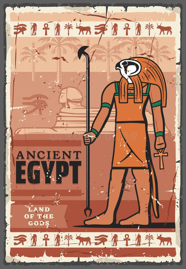 Forntida Egypten Horus gud, hieroglyfer Religion stock illustrationer