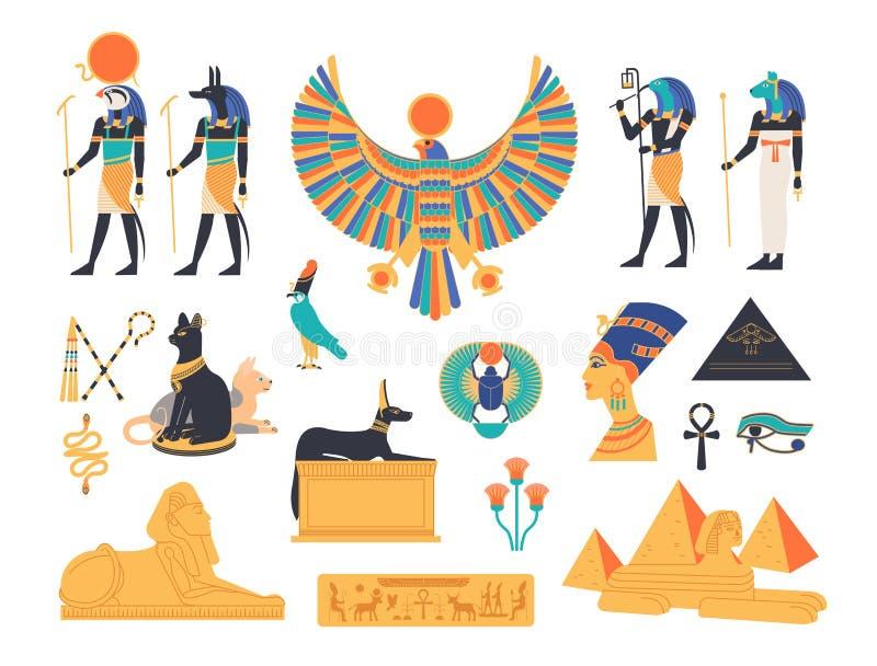 Forntida Egypten samling - gudar, gudar och mytologiska varelser från egyptisk mytologi och religionen, sakrala djur stock illustrationer