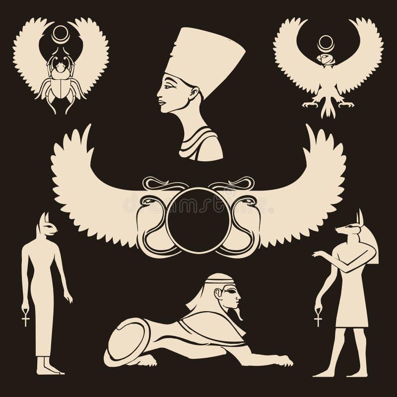 Forntida Egypten symboler vektor illustrationer
